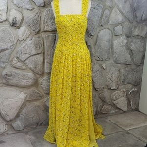 DVF Yellow Silk Lillie Maxi Dress